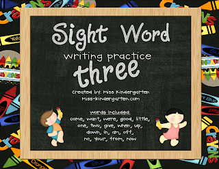 Sight Word Writing Practice Three is Here!