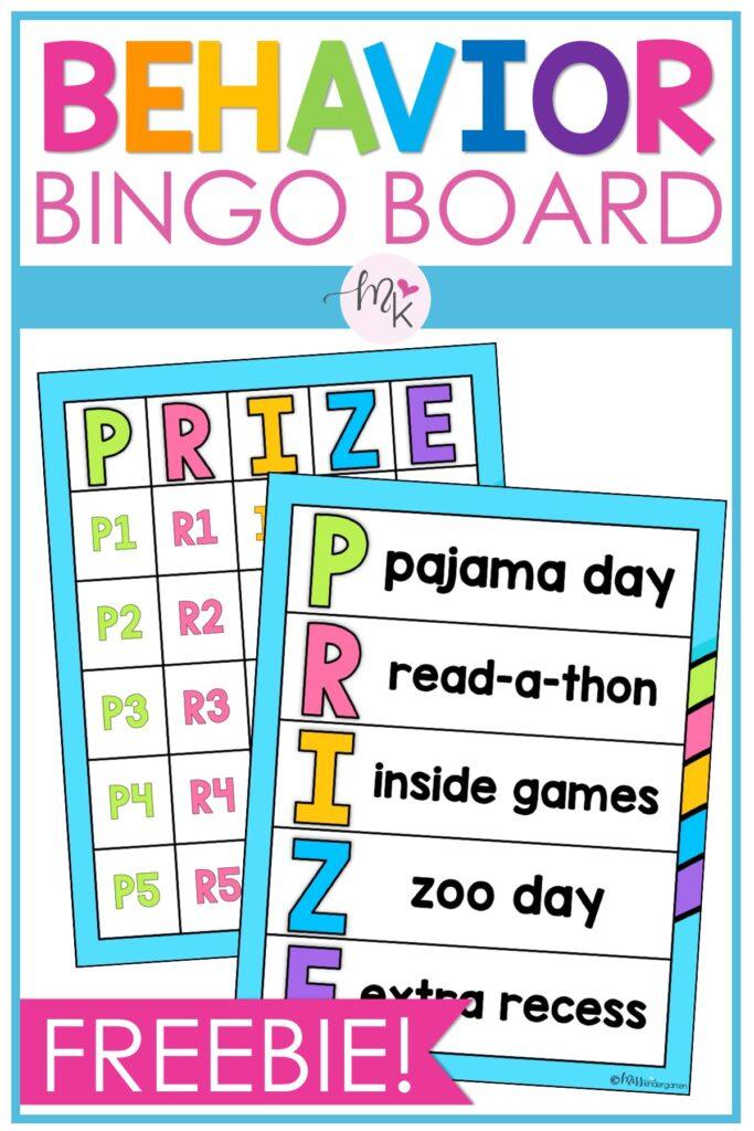 Using a bingo board to help manage classroom behaviors