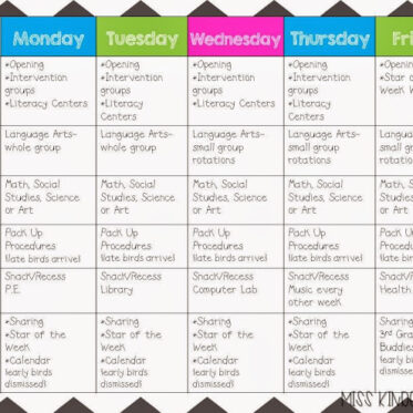 Daily Schedule and Some Math Centers