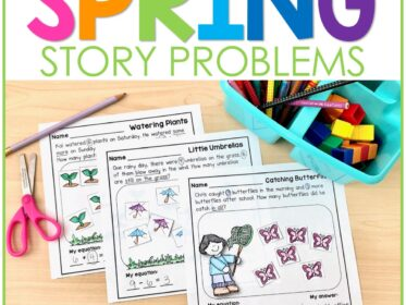 3 math word problems with a spring theme