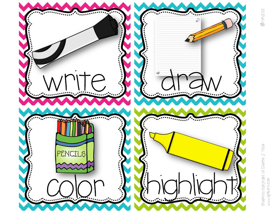 http://www.teacherspayteachers.com/Product/Picture-Direction-Icons-bright-polka-dots-chevron-print-738701