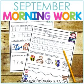 september kindergarten morning work