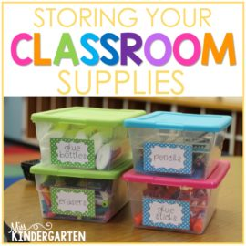 storing classroom supplies