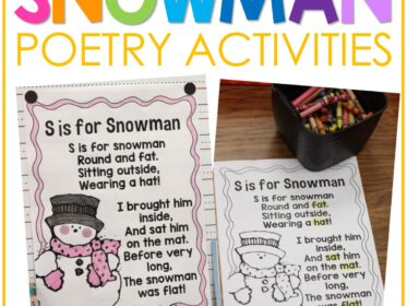snowman poem and sight word activity