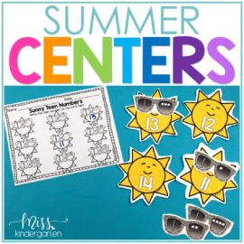 Summer Math Centers and Literacy Centers for Kindergarten