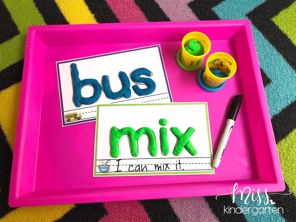 teaching cvc words using play doh mats