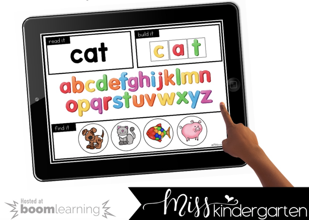 teaching CVC words with digital task cards