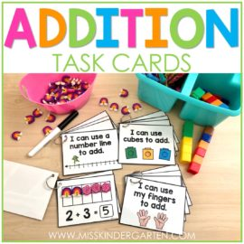 Examples of task cards to solve addition problems