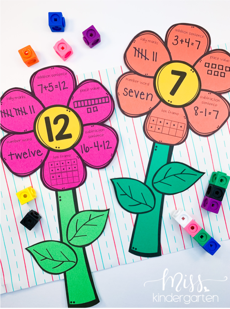 a photo of the number 12 and the number 7 represented on a math flower