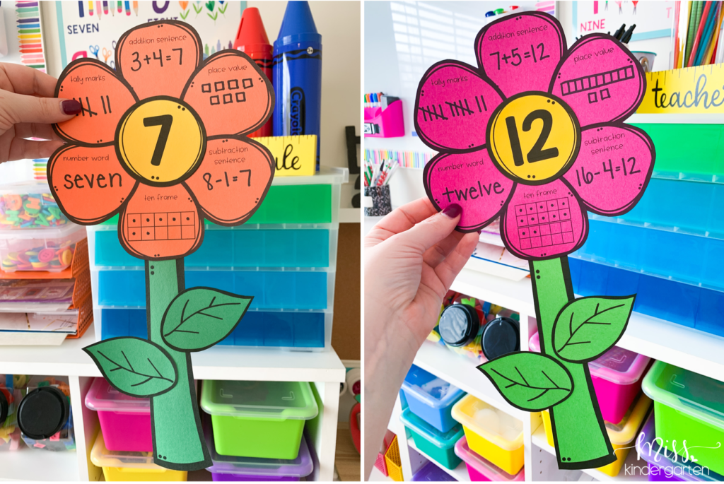 math flowers showing the number 7 and the number 12