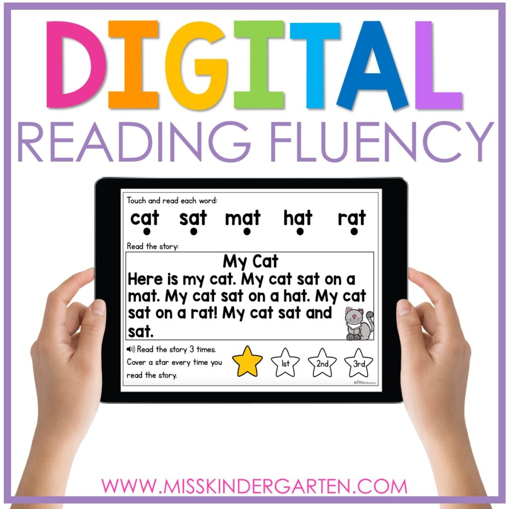 digital reading fluency practice for Boom Cards