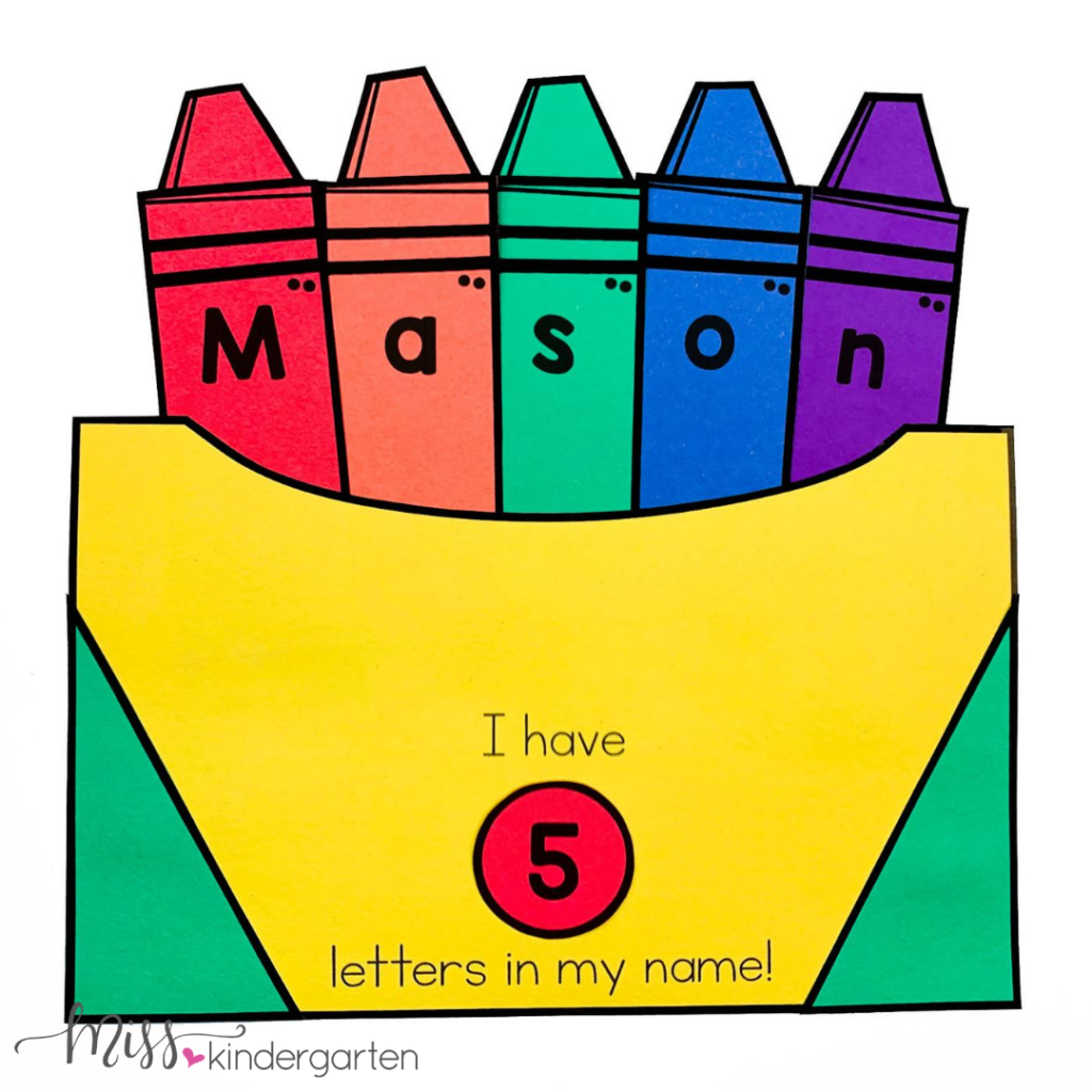Put crayons with your students' names inside the crayon box craft