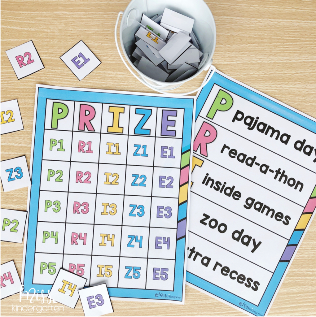 prize chart for behavior bingo board management tool