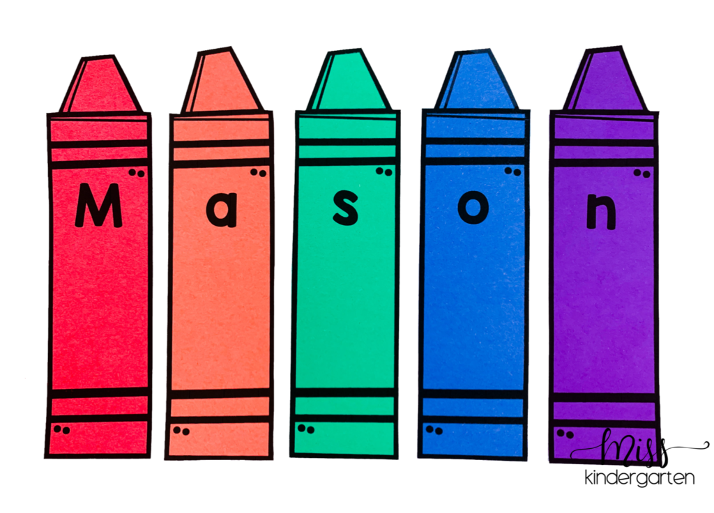 Crayons with a letter on each one to spell out a name