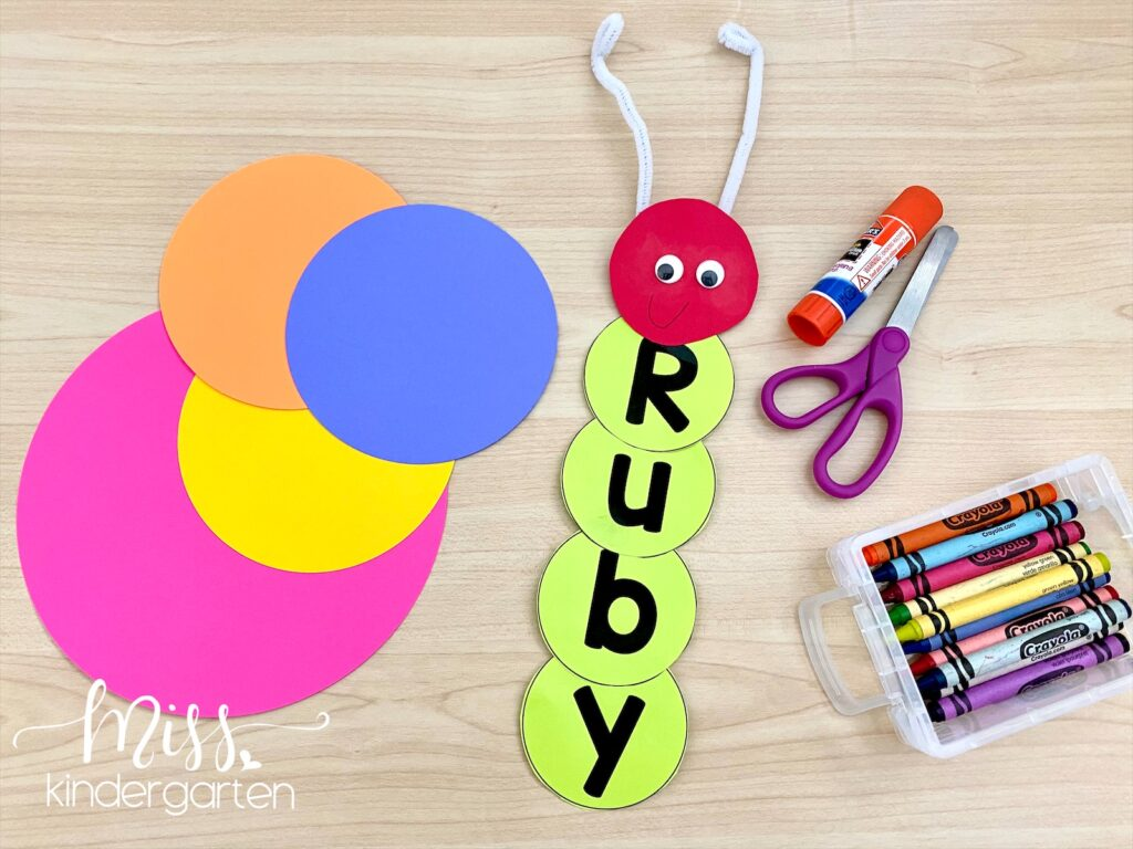 Write letters on circles and create a name caterpillar with the letters.