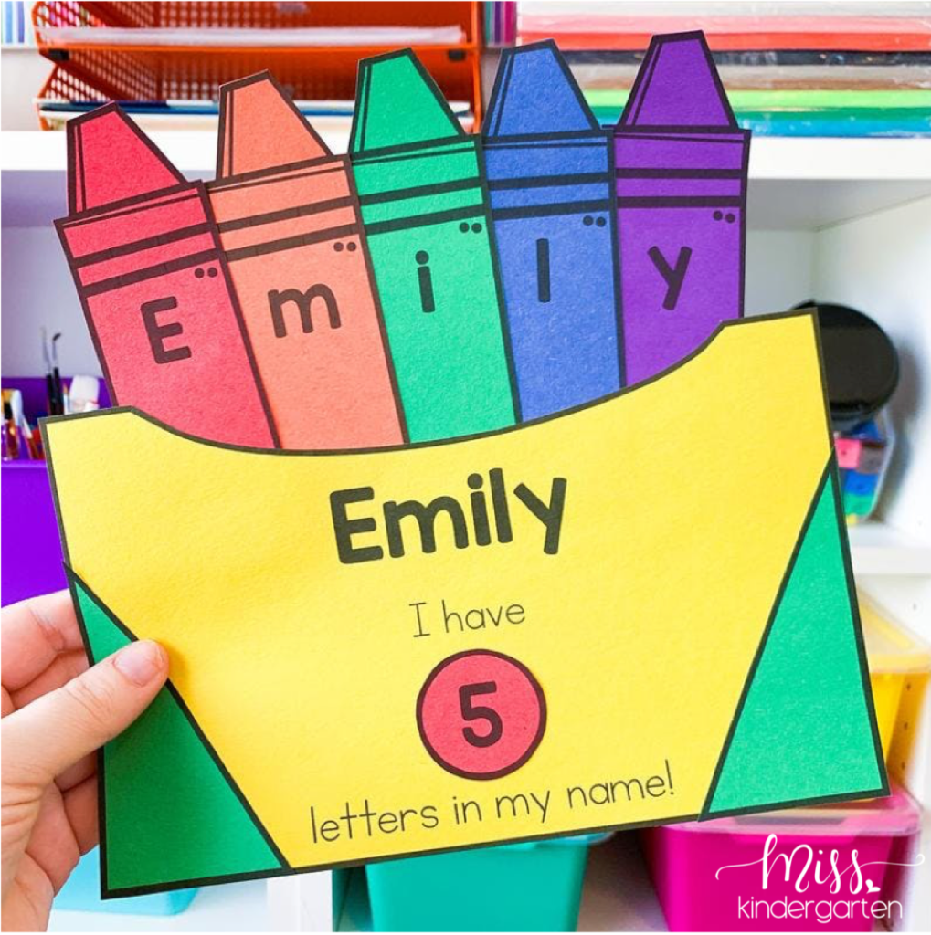 Practice names with a crayon box craft