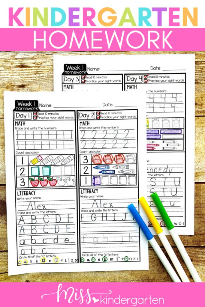 week 1 kindergarten homework