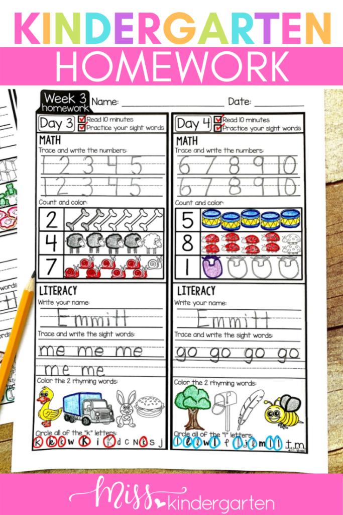 week 3 kindergarten homework