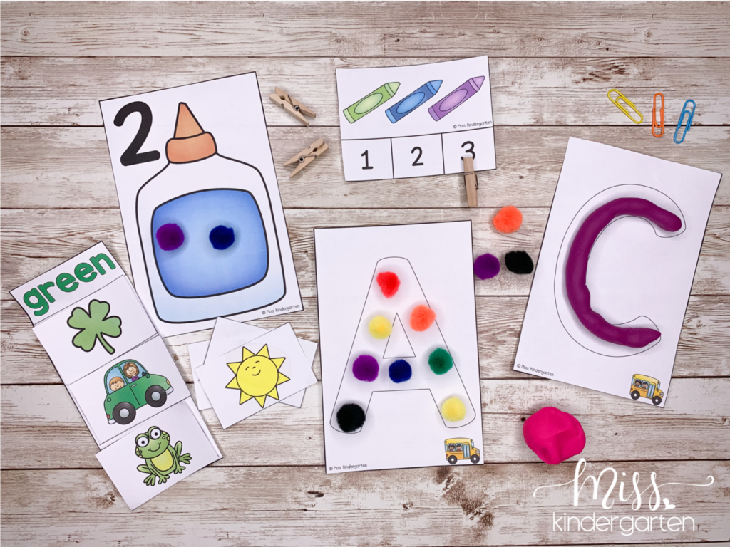 Using literacy and math activities as busy boxes for your homeschool kids.