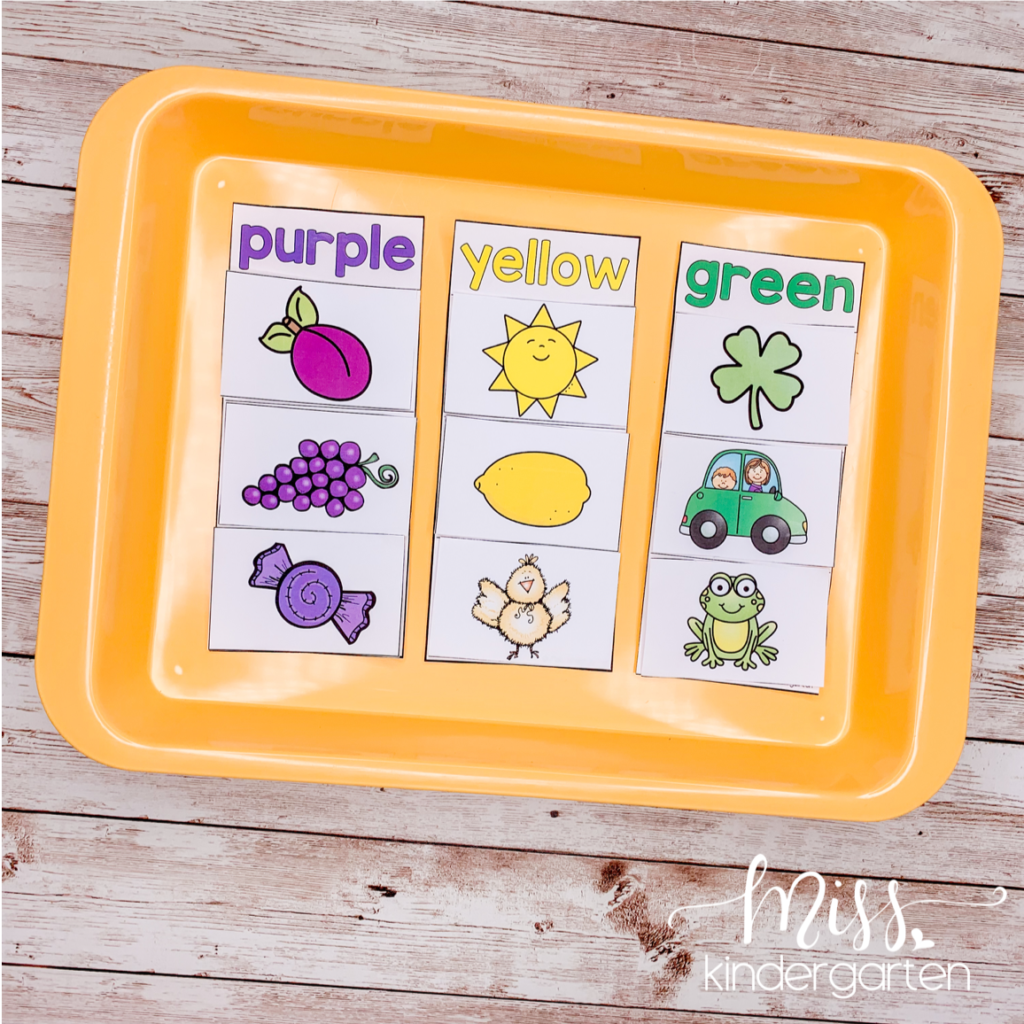 use these color words and picture cards to help students practice sorting by color and reading color words