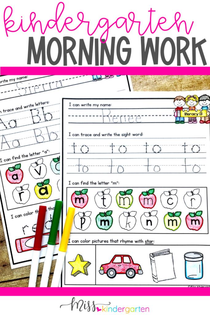 Kindergarten Morning Work - Miss Kindergarten