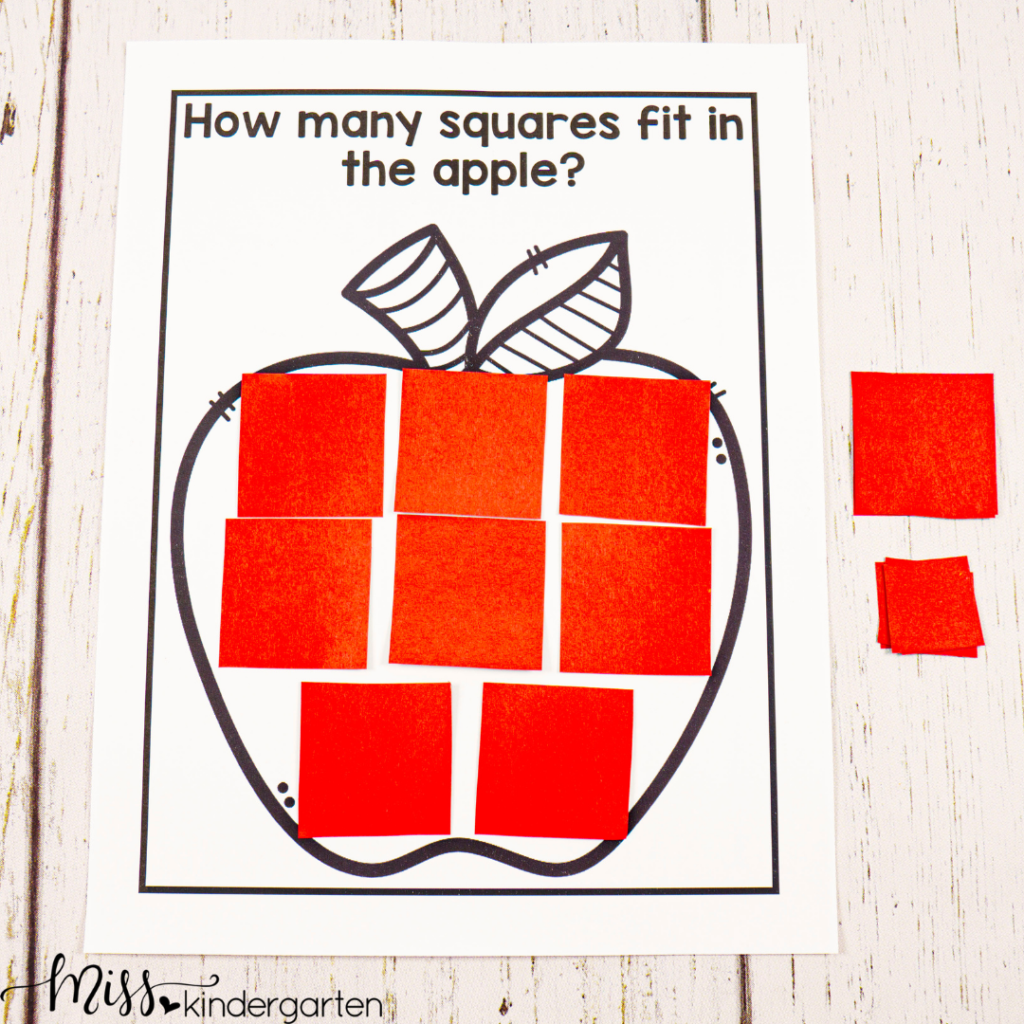 this fall STEM activity is great for counting and lays a foundation for geometry skills too as students work to see how many square they can fit in the apple