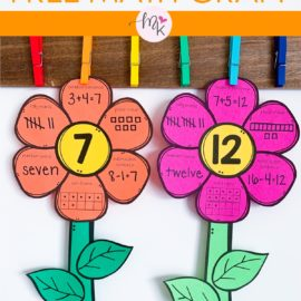 FREE Spring Math Flower Craft To Practice Fluency