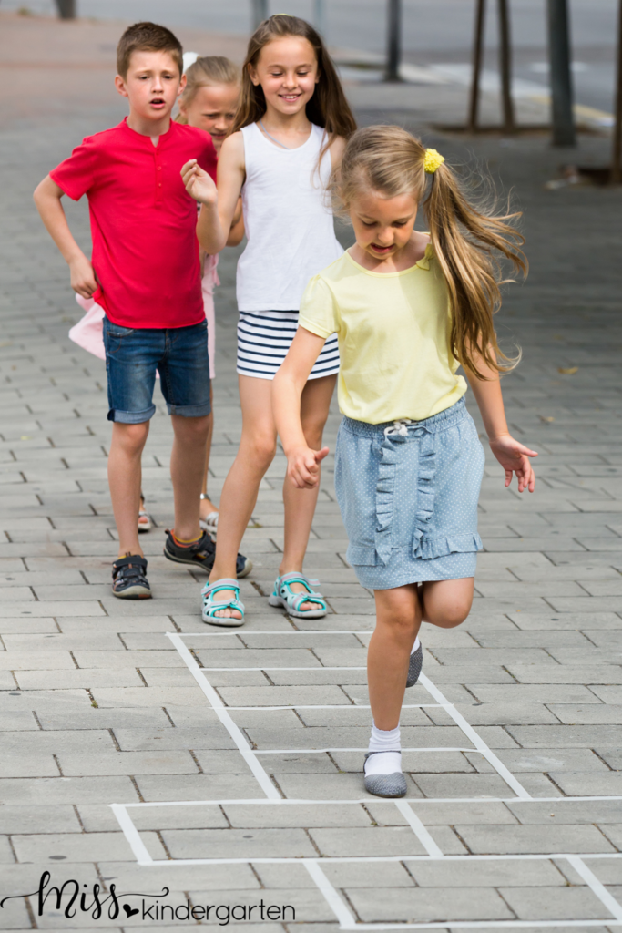 hopscotch is a great way to get students moving and working with numbers