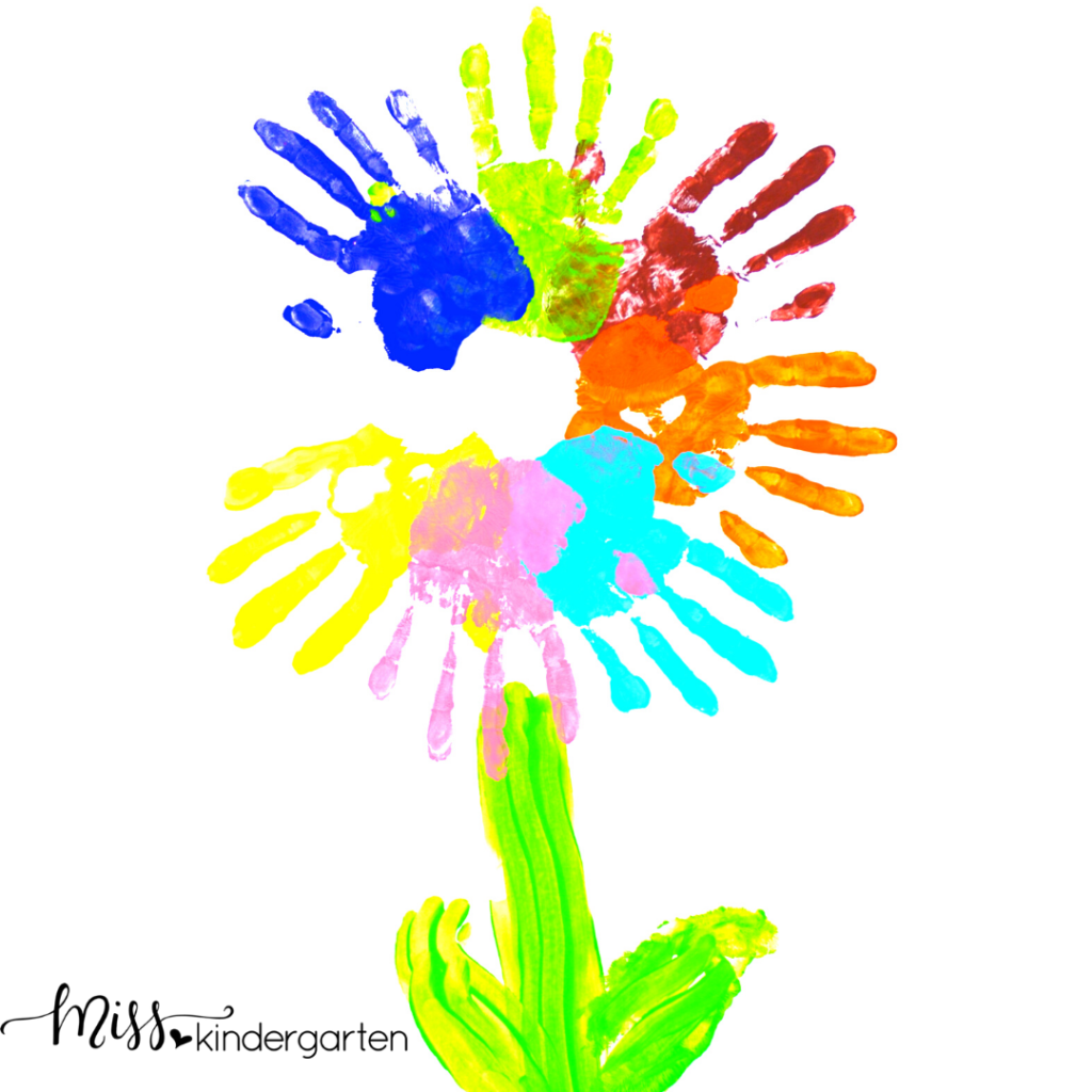 This handprint flower makes a wonderful Mother's Day gift and you can find great handprint art for Father's Day too