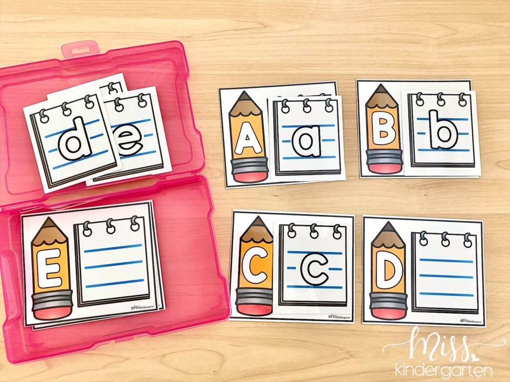 These alphabet matching centers are similar to puzzles and easy for students to pick-up and work on independently.