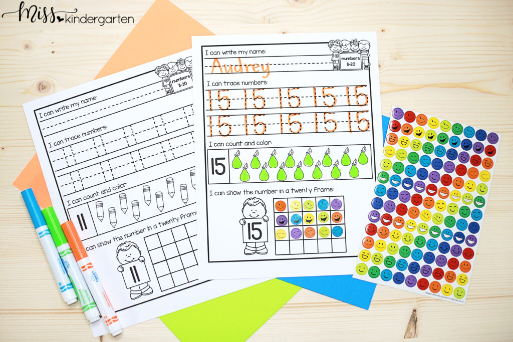 teen number practice pages give students opportunities to work on recognizing, writing, creating sets and more for numbers 11-20