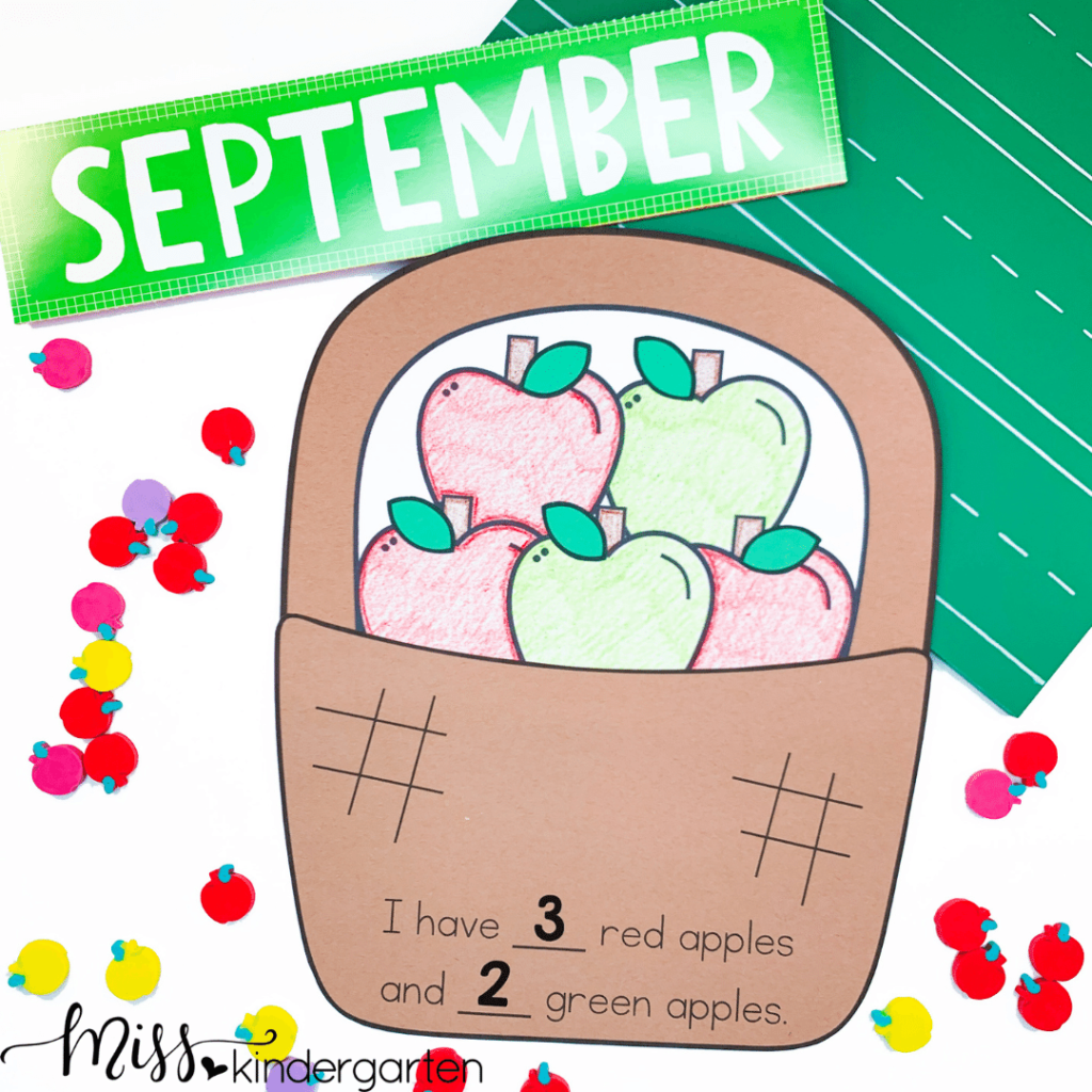 apple basket craft is perfect for fall or addition concepts
