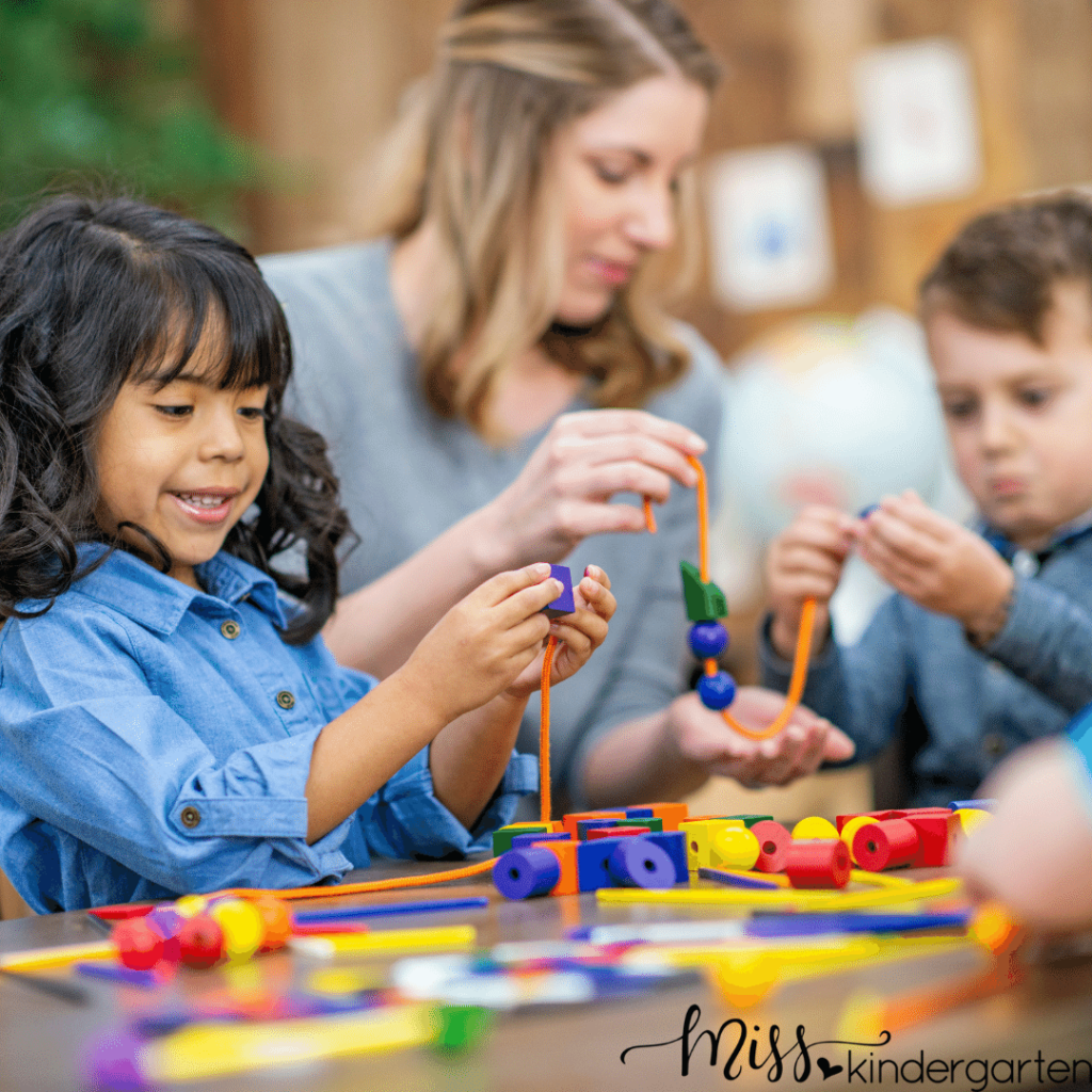 stringing beads is a great activity to help students with fine motor skills