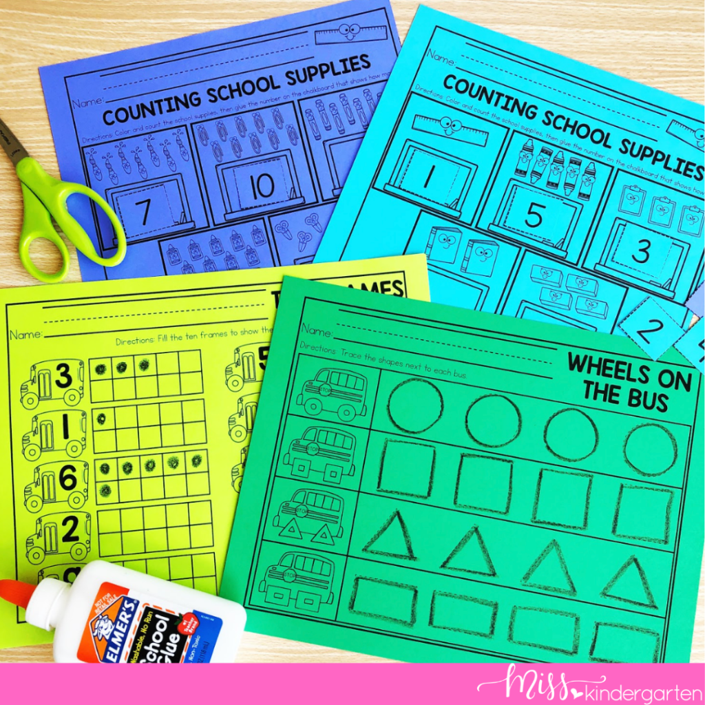 No prep review activities are perfect for adding to kindergarten centers