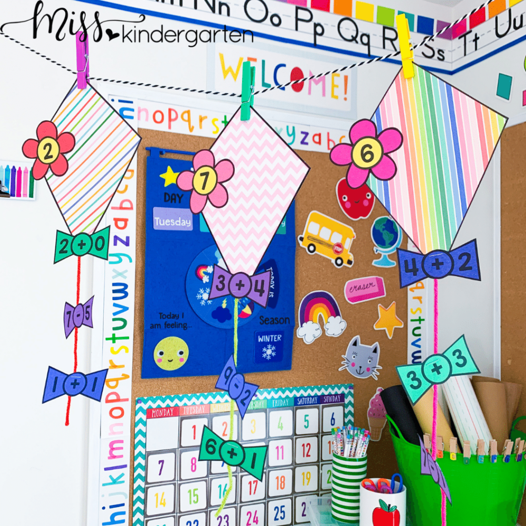 students can practice basic addition and subtraction with these number kites