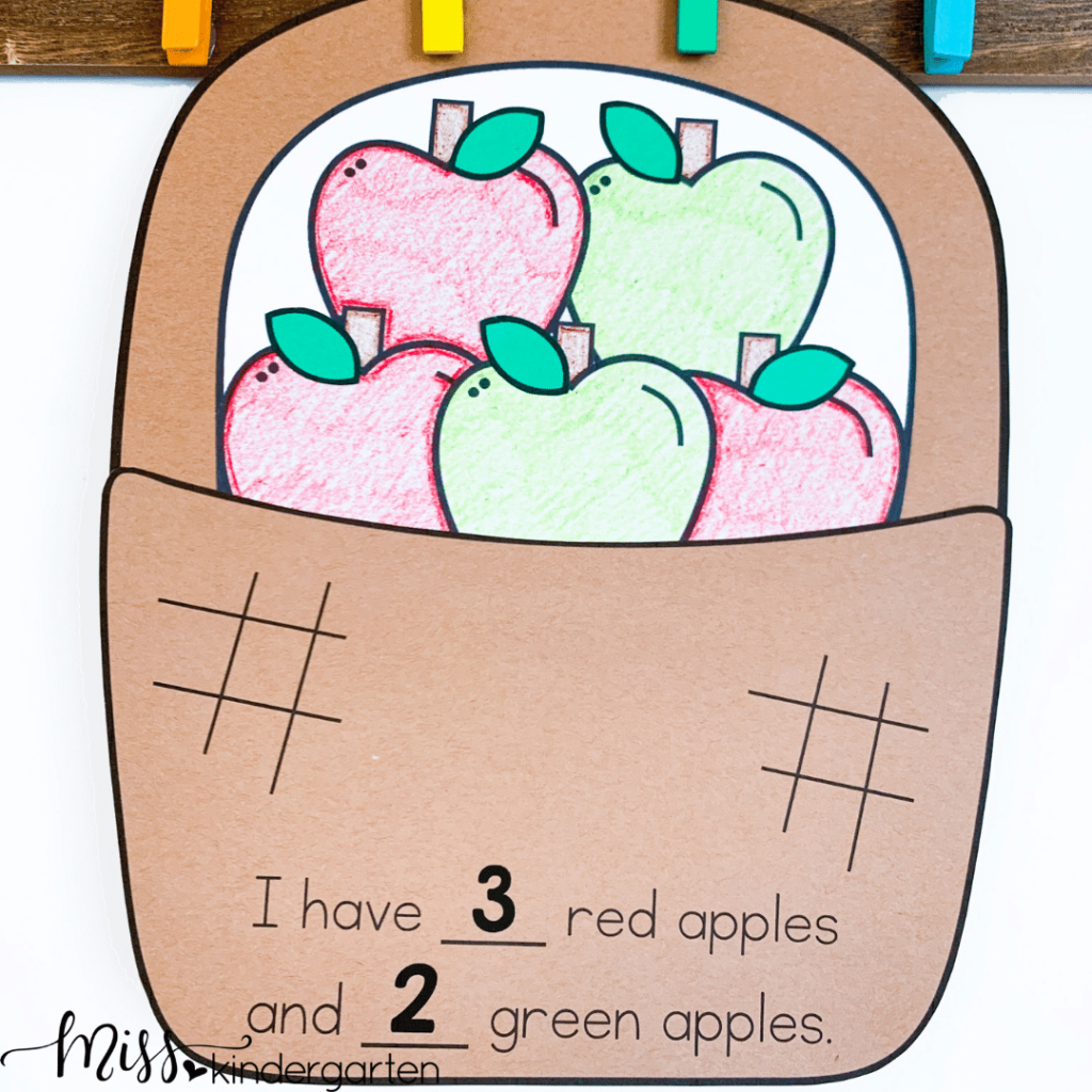 counting apples is a great fall craft to reinforce counting skills and number recognition