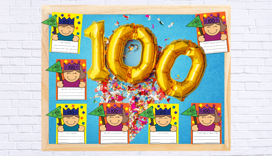 This 100th Day of School bulletin board creates a sense of celebration while showing off student work