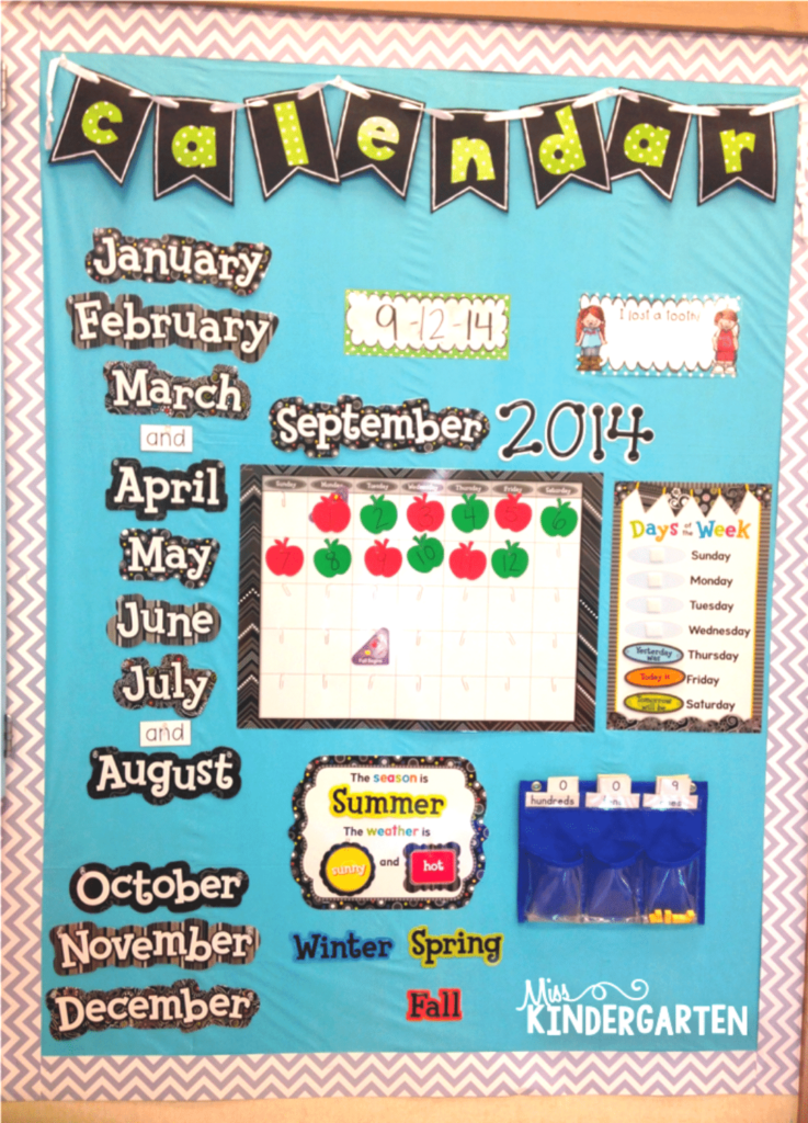 Use bulletin board space to create interactive learning spaces like this calendar board