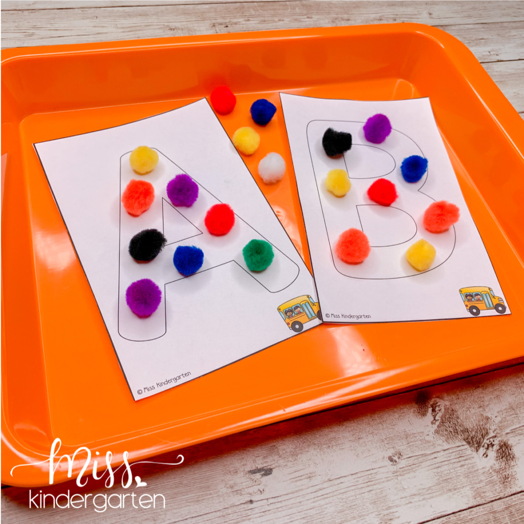 hands-on activities like building letters with small manipulatives is great for morning tubs
