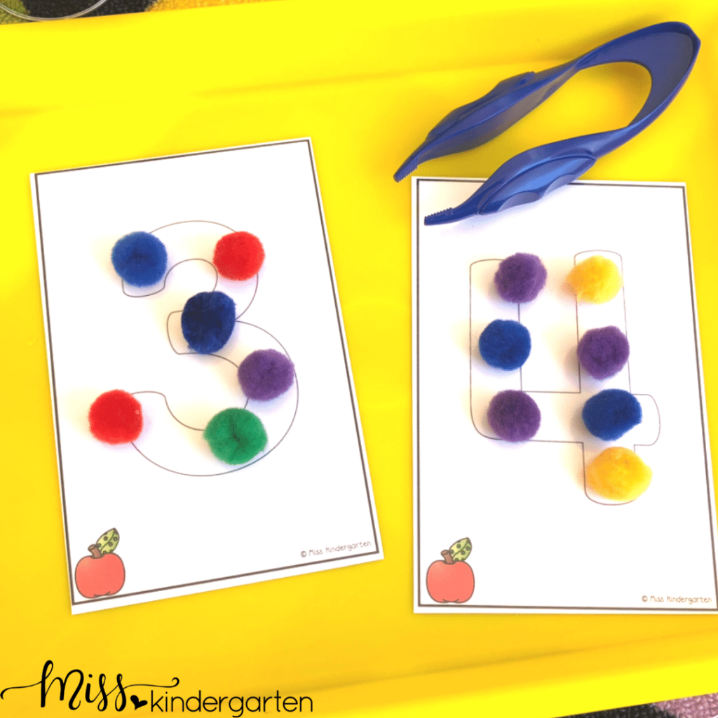 Incorporate fun math practice into your morning routine with math morning tubs.