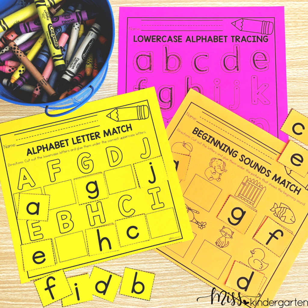 These cut and paste centers help students work on uppercase and lowercase letters as well as fine motor activities
