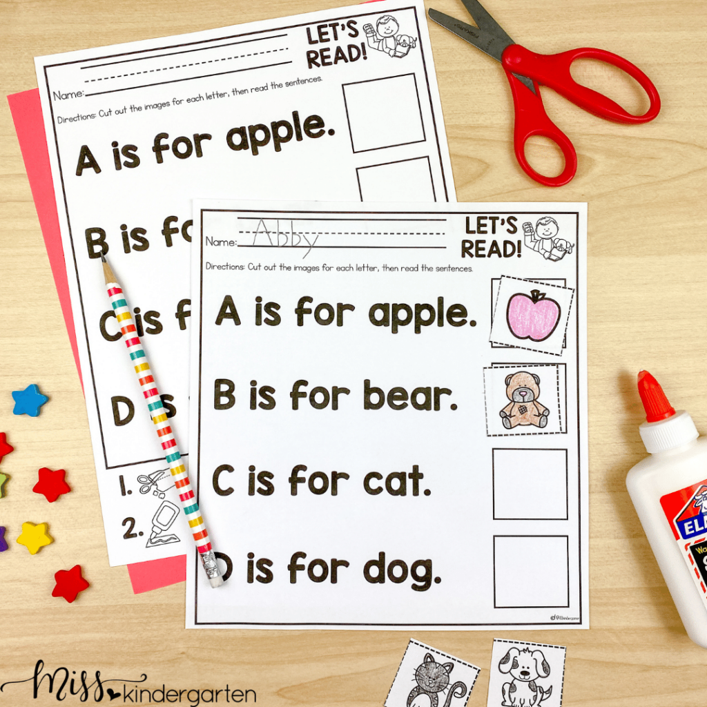 alphabet cut and paste activity for beginning of the school year