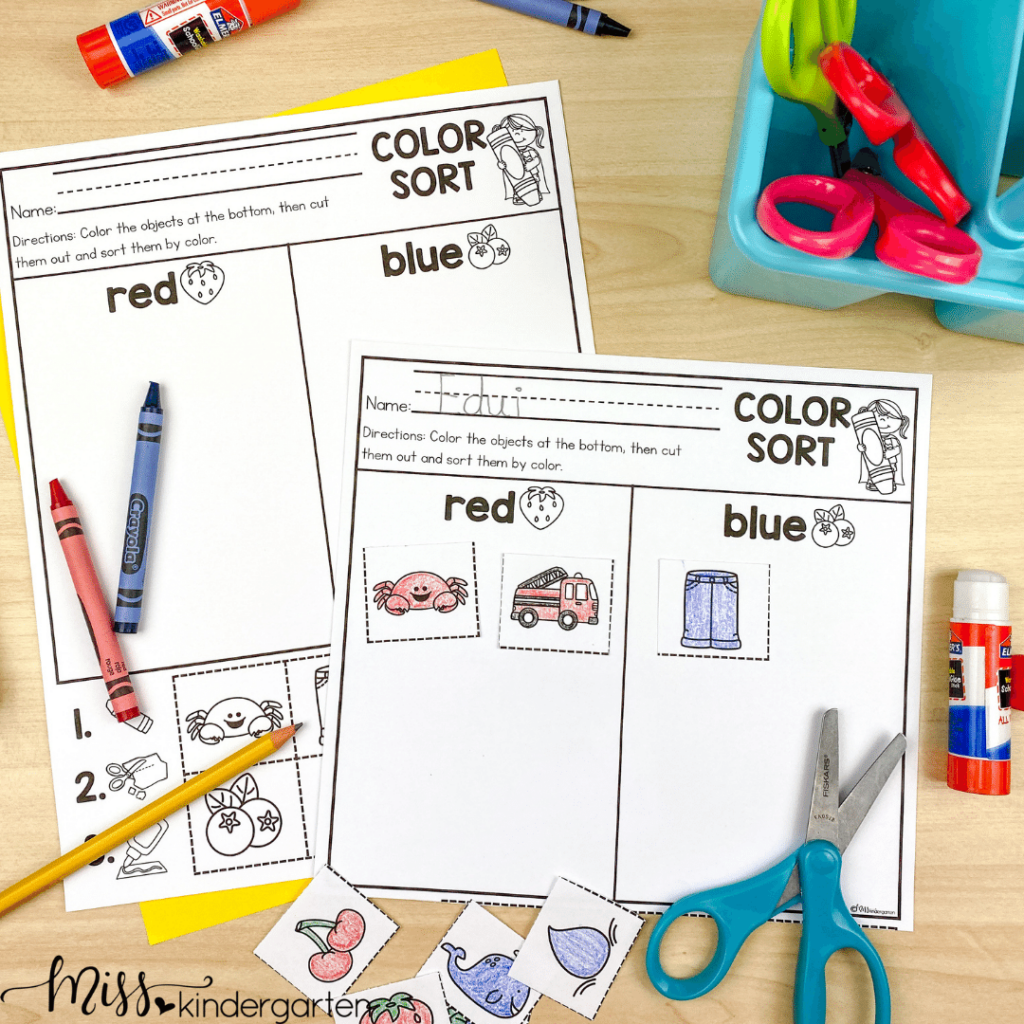 color words and color sort cut and paste activitiy