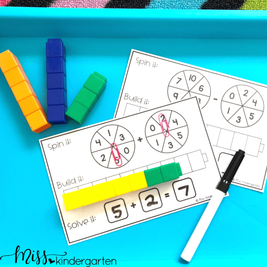 Students can work on basic addition with visuals using this math morning tub