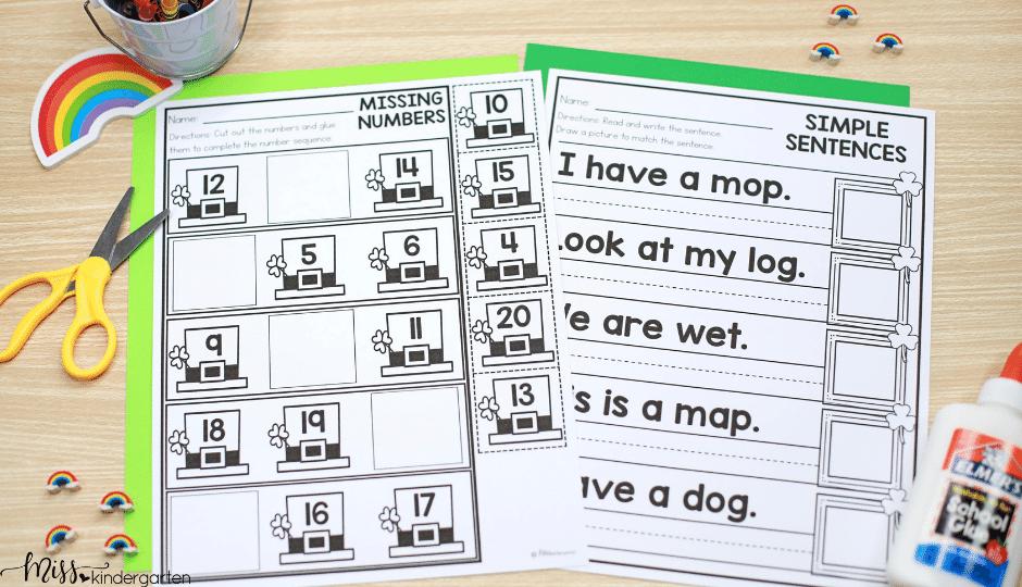March no prep printable activities for kindergarten