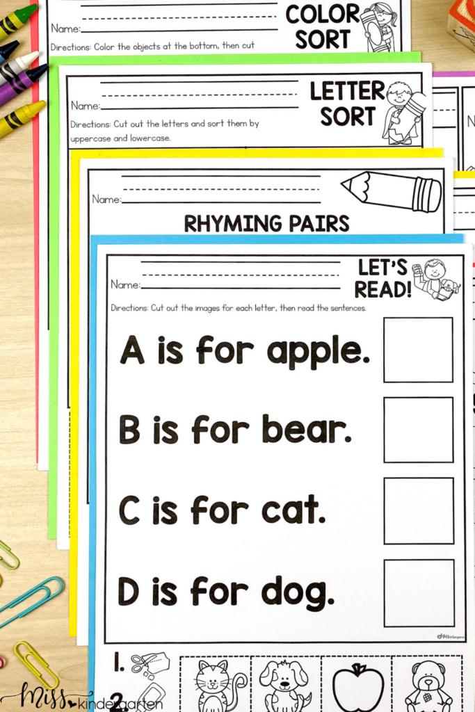 No Prep Kindergarten Printables are skills based practice activities.