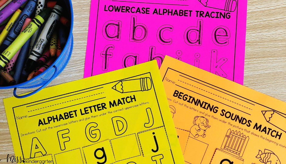 Back to School no prep printables for kindergarten