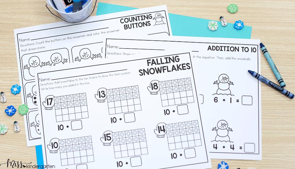 January no prep printable activities for kindergarten