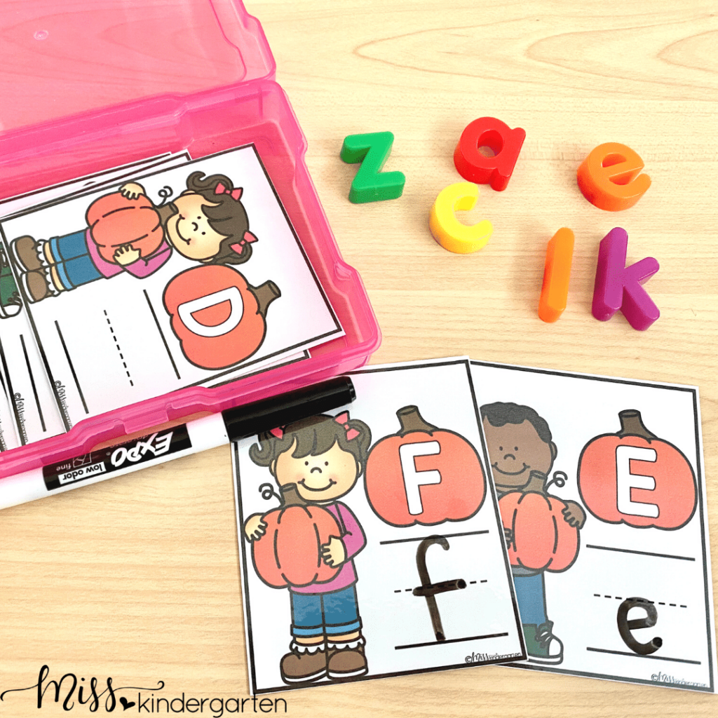 Help students with letter writing and matching uppercase and lowercase letters with these October centers.