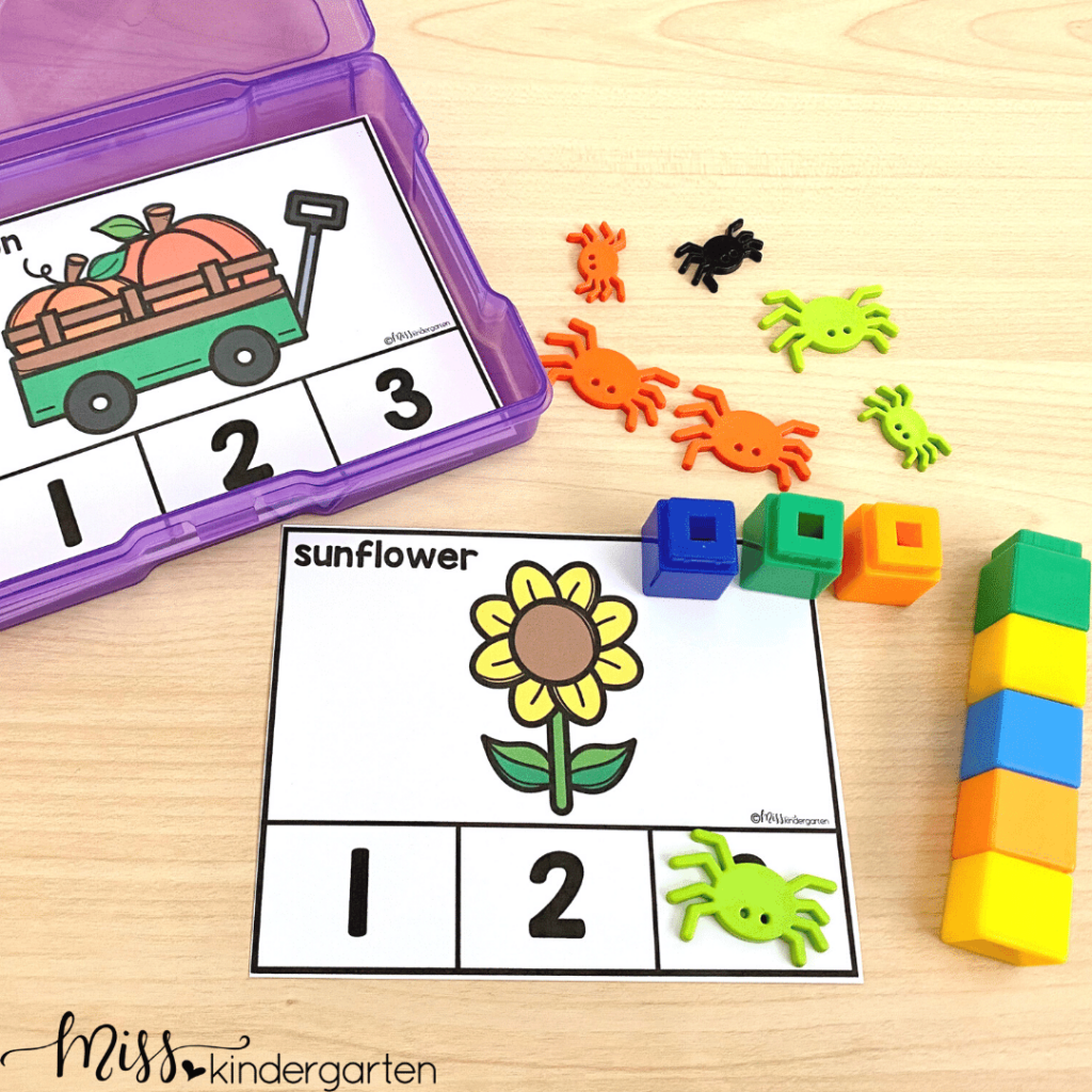 Students can practice identifying syllables with this October center activity.